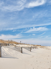 New Jersey Island Beach State Park Attempts To Protect The Massive And Endangered Sand Dunes From Wind And Wave Erosion, As Well As Human Foot Traffic With These Wooden Slat Storm Fencing