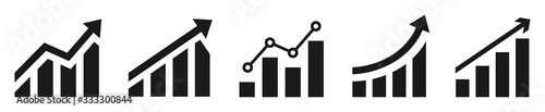 Growing graph simple icons set. Vector illustration