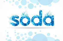 Soda Water Label Logo Design. Mineral Water Bubble Letters And Drop Waves. Vector Illustration