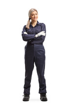 Female Worker In An Overall Uniform