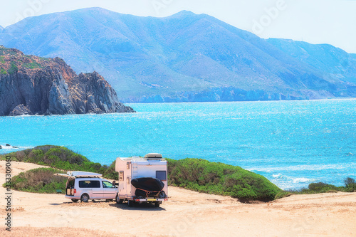 Car and Camper at Capo Pecora Mediterranean sea Sardinia Canvas Print