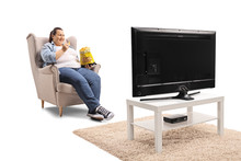 Overweight Woman Watching Tv A...