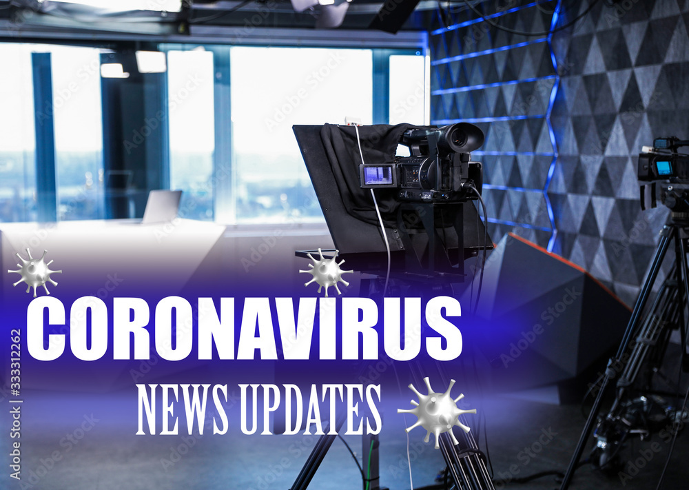 Fototapeta Modern video recording studio. Coronavirus pandemic - latest updates