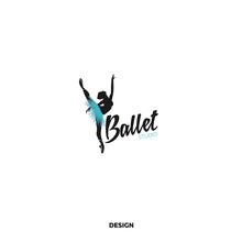 Logo For A Ballet Or Dance Studio. Silhouette Of A Young Girl Dancer. Logo For Posters, Banners, Signs, Mobile Applications. Vector Illustration