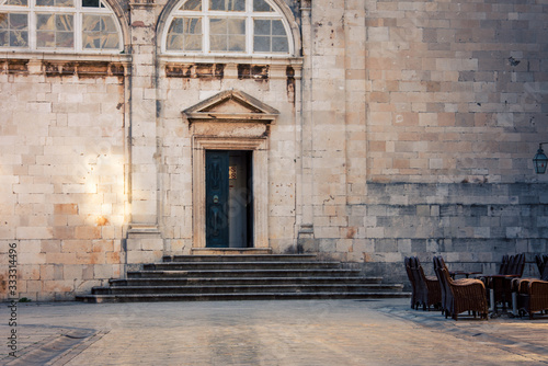 entrance to a church in Dubrovnik Canvas Print