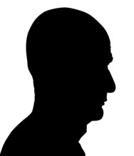 Portrait Of An Old Man, Senior From The Side. Silhouette.