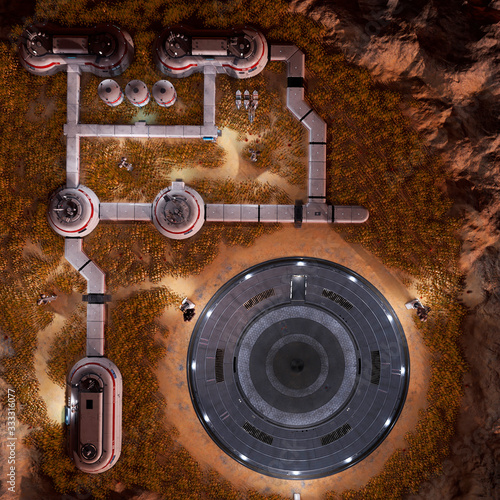 Wallpaper Mural base in another planet drone view