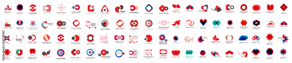 Fototapeta Abstract Logo And Icon Set. Elements Collection Isolated On White - Vector. Flat Icons For Business Template Logo, Square Elements, Website, Business Symbol And Circle Elements. Abstract Medical Logo