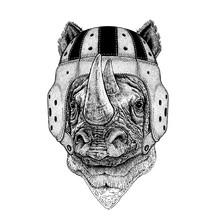 Rhino. Portrait Of Animal Wearing Rugby Helmet