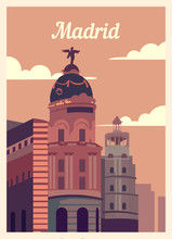 Retro Poster Madrid City Skyline Vintage, Vector Illustration.