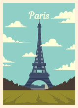 Retro Poster Paris City Skyline. Paris Vintage