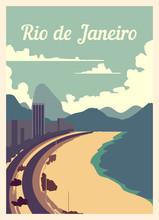 Retro Poster Rio De Janeiro City Skyline Vintage, Vector Illustration.