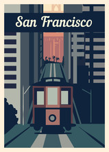 Retro Poster San Francisco City Skyline Vintage, Vector Illustration.