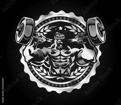 Gorilla Bodybuilding Vektor Fitness Beast Logo Gym Workout Muskeln Silber Canvas Print