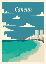 Retro Poster Cancun City Skyline Vintage, Vector Illustration.