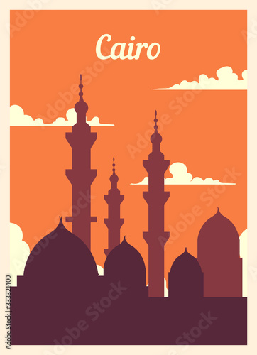 Retro poster Cairo city skyline. vintage vector illustration.
