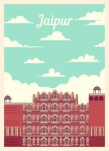 Retro Poster Jaipur City Skyli...