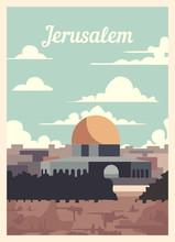 Retro Poster Jerusalem City Skyline Vintage, Vector Illustration.