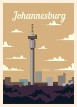 Retro Poster Johannesburg City Skyline Vintage, Vector Illustration.