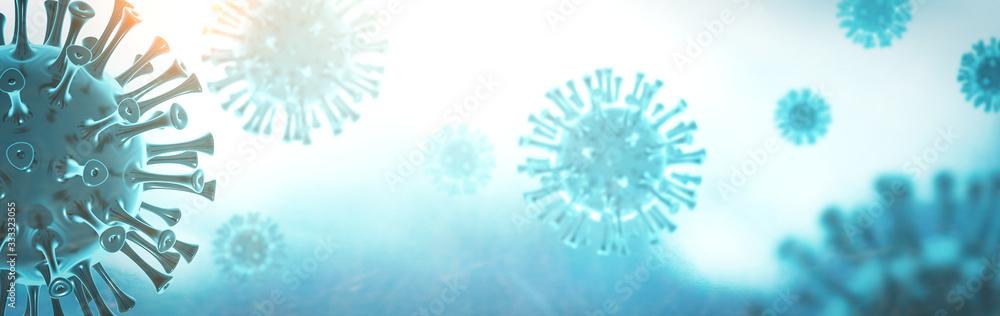 Fototapeta Coronavirus 3D render, COVID-19 pandemic