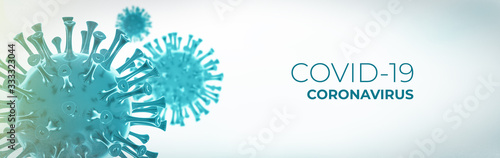 Obraz Coronavirus 3D render, COVID-19 pandemic - fototapety do salonu