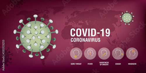 Fototapeta Coronavirus disease COVID-19 infection medical symptoms. obraz