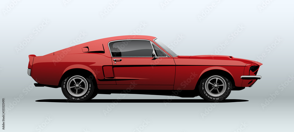 Fototapeta Red muscle car, view from side, in vector.