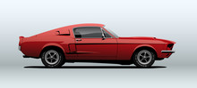 Red Muscle Car, View From Side...