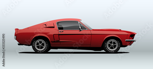 Obraz Red muscle car, view from side, in vector. - fototapety do salonu