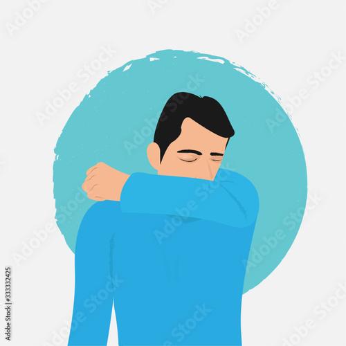 Fotografia man sneezing coughing in elbow