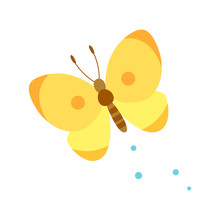 Cute Yellow Butterfly Isolated...