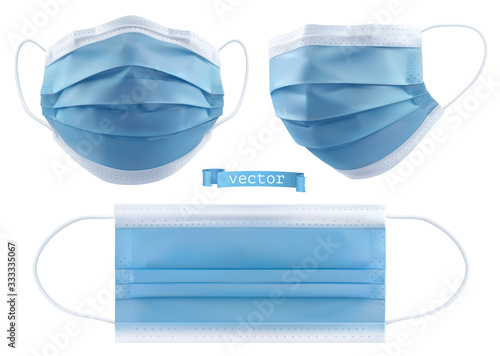 Fototapeta Medical mask, surgical mask, virus and infection protection. 3d realistic vector objects obraz