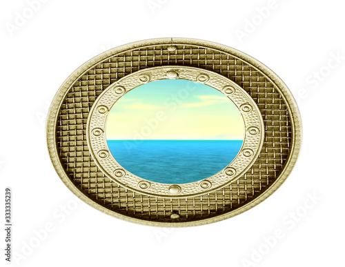 Fotografia, Obraz sea in isolated vintage porthole