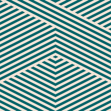 Vector Geometric Lines Pattern. Simple Texture With Diagonal Stripes, Lines, Chevron. Abstract Teal And Beige Graphic Background. Modern Sport Style Linear Ornament. Repeated Striped Design For Decor
