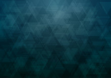 Dark Greenish Blue Triangle Abstract Background, Vector Illustration