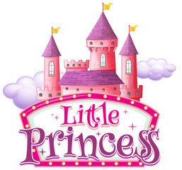 Font design for word little princess with pink castle