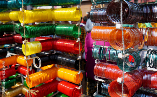 Closeup of Indian woman bracelets or bangles in display of a shop Wallpaper Mural