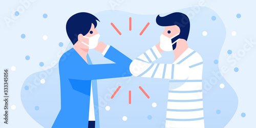 Obraz People greeting with elbow bump for prevent the Covid-19 infection. Coronavirus pandemic prevention concept illustration. - fototapety do salonu