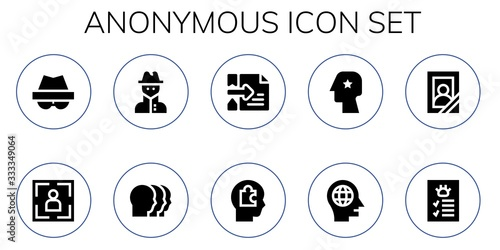 Cuadros en Lienzo Modern Simple Set of anonymous Vector filled Icons