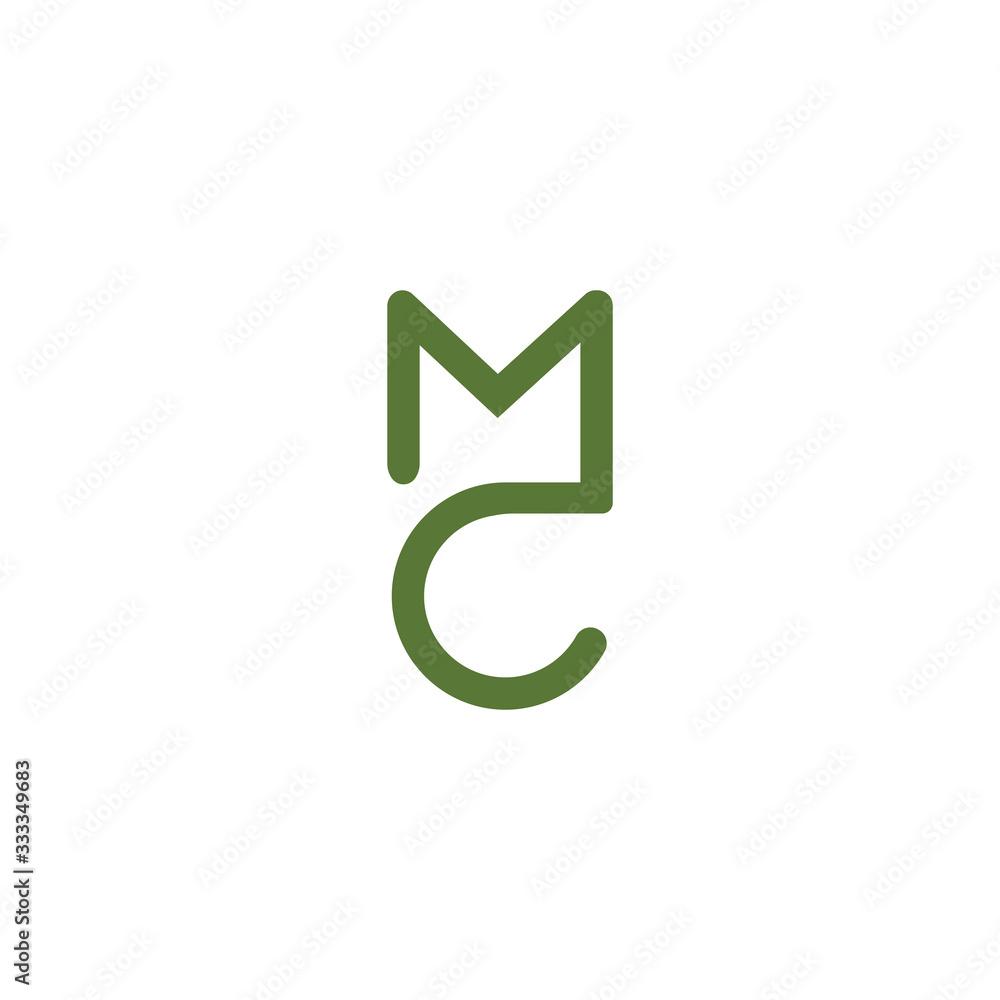 Fototapeta Initial Letter mc or cm logo vector design template