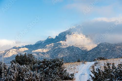 Mountain Desert Winter Scene with Road