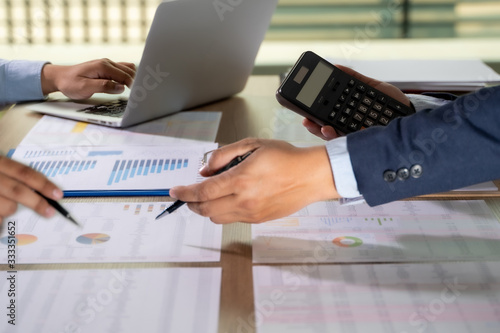 calculator finance accounting achievement to balance man assistant accounting an Canvas Print