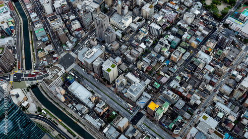 Fotografia Urban Metropolitan Cityscape in Tokyo, Japan with busy skyline and dense vibrant