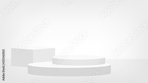 stage pedestal award 3d white grey, podium stage show for victory champion posit Canvas Print