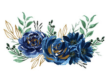 Watercolor Navy Blue Gold Green Bouquet Illustration Painted Composition Of Flowers For Design Greeting Card Valentine's Day, Mother's Day, Wedding
