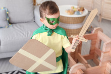 Little Boy Dressed As Knight P...