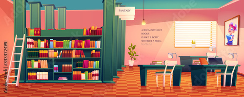 Library interior, empty room for reading with various books on wooden shelves, ladder, desks with lamps and picture of schoolgirl on wall Canvas Print