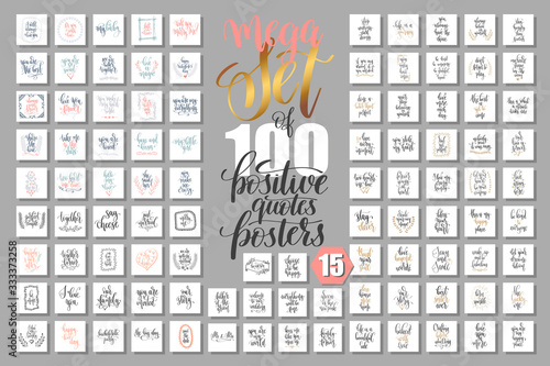mega set of 100 positive quotes posters, motivational and inspirational phrases Fotobehang