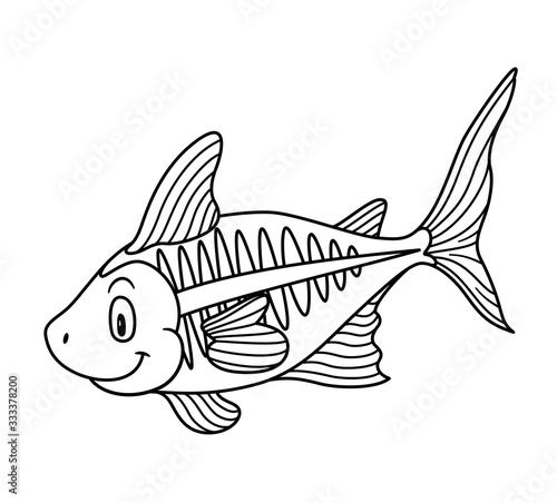 Cartoon Animal X-Ray Fish. Raster illustration. For pre school education, kindergarten and kids and children. Coloring page and books, zoo topic. With smiling happy face, friendly transparent fish