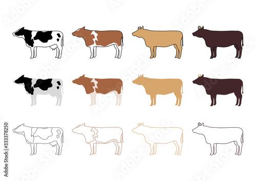 Cuadros en Lienzo 牛 バリエーション イラスト アイコン セット